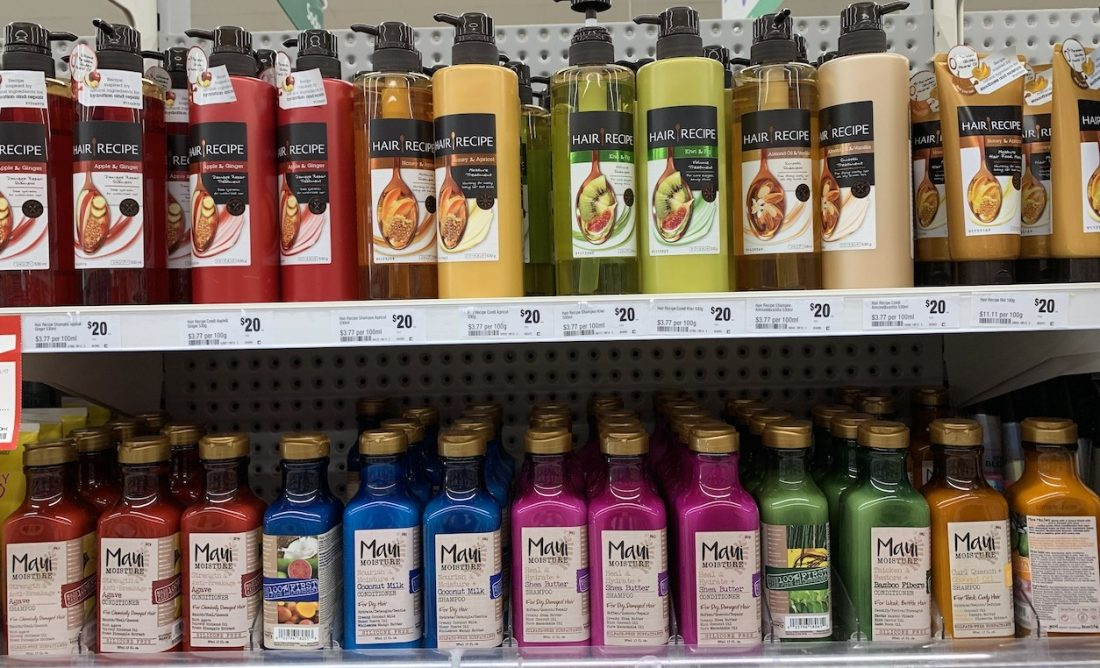 Bottles of Shampoo and conditioner on a supermarket shelf