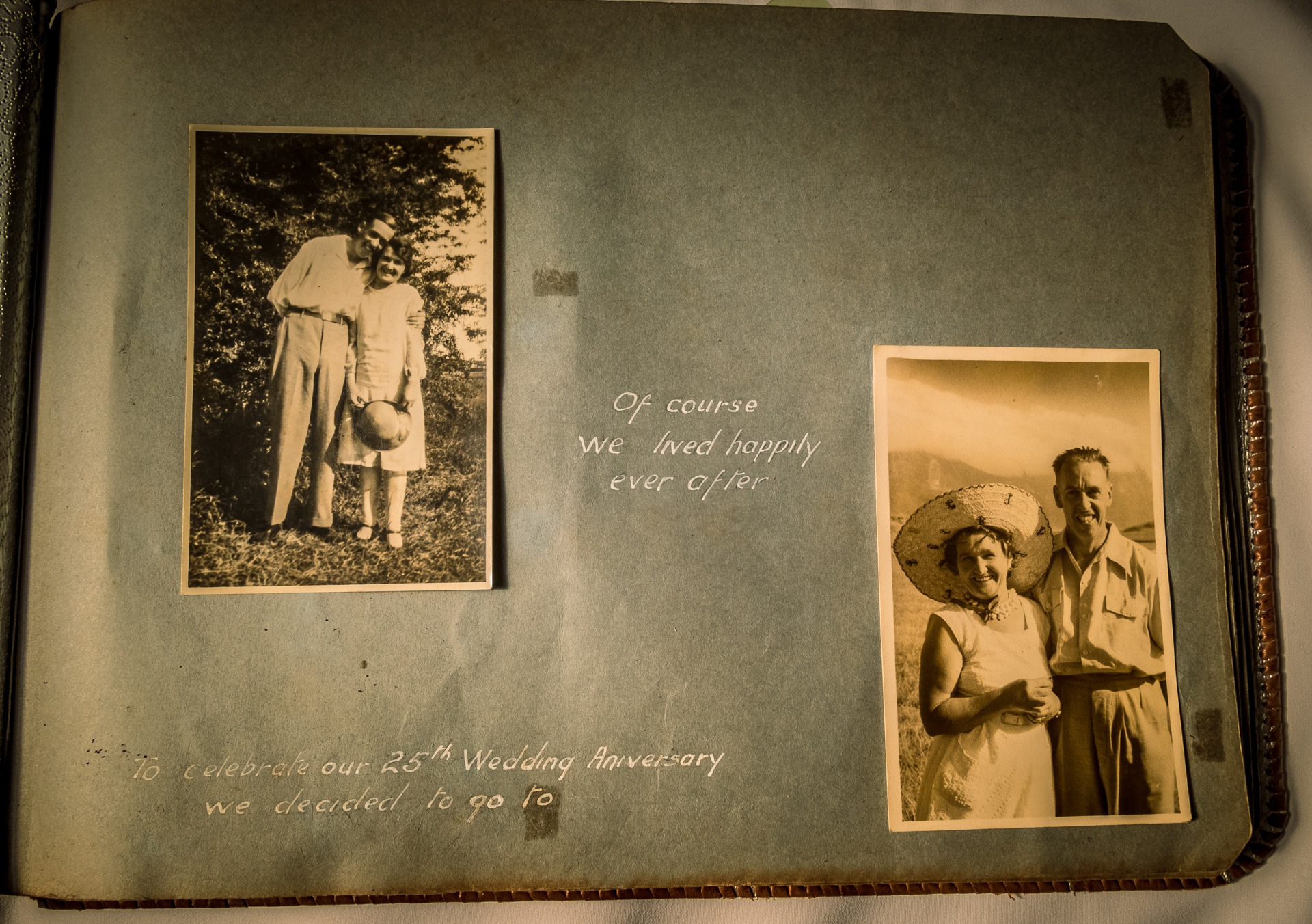 a page from a photo ablbum with two photos of my grnadparents