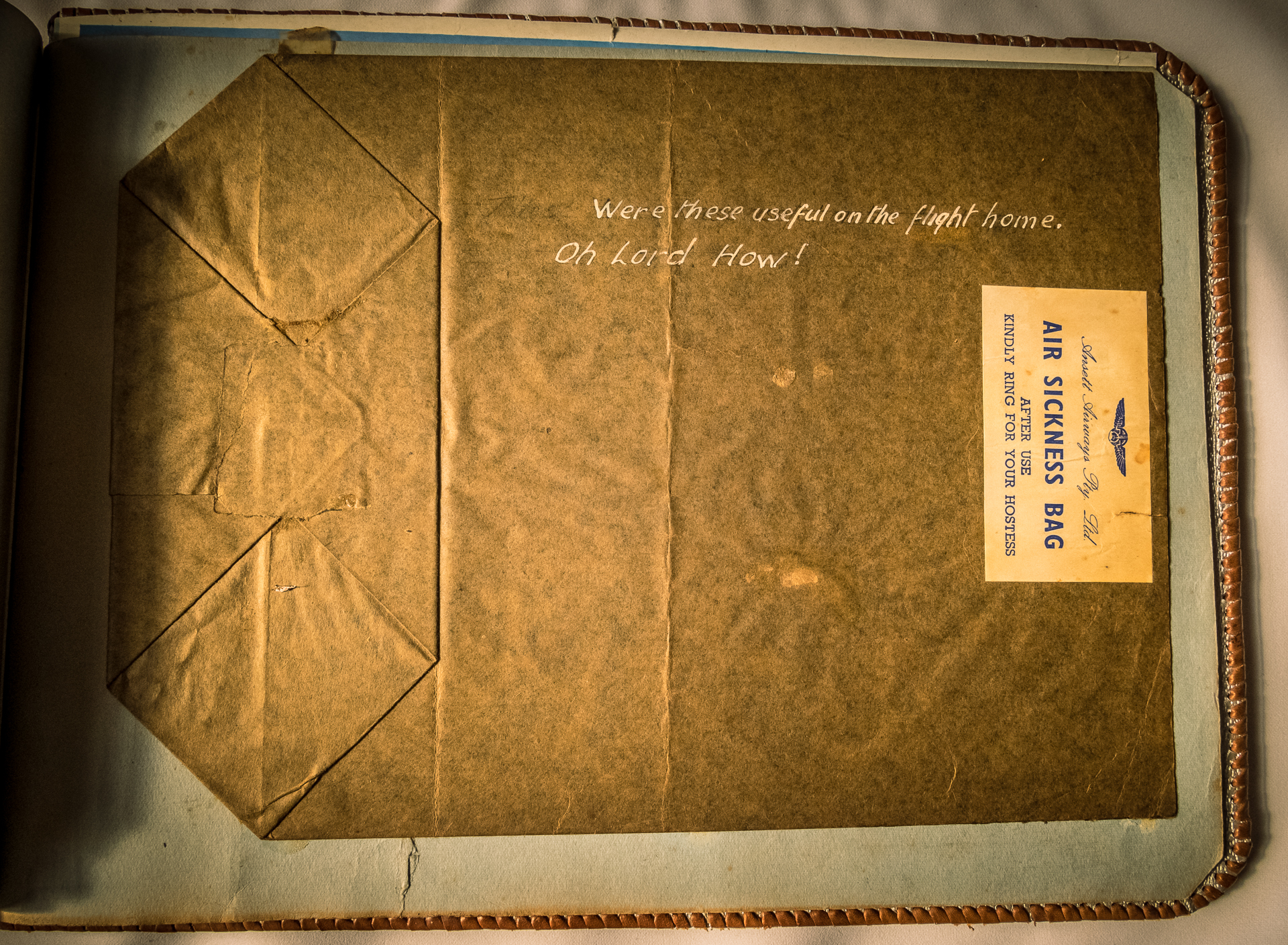 an old air sick bag